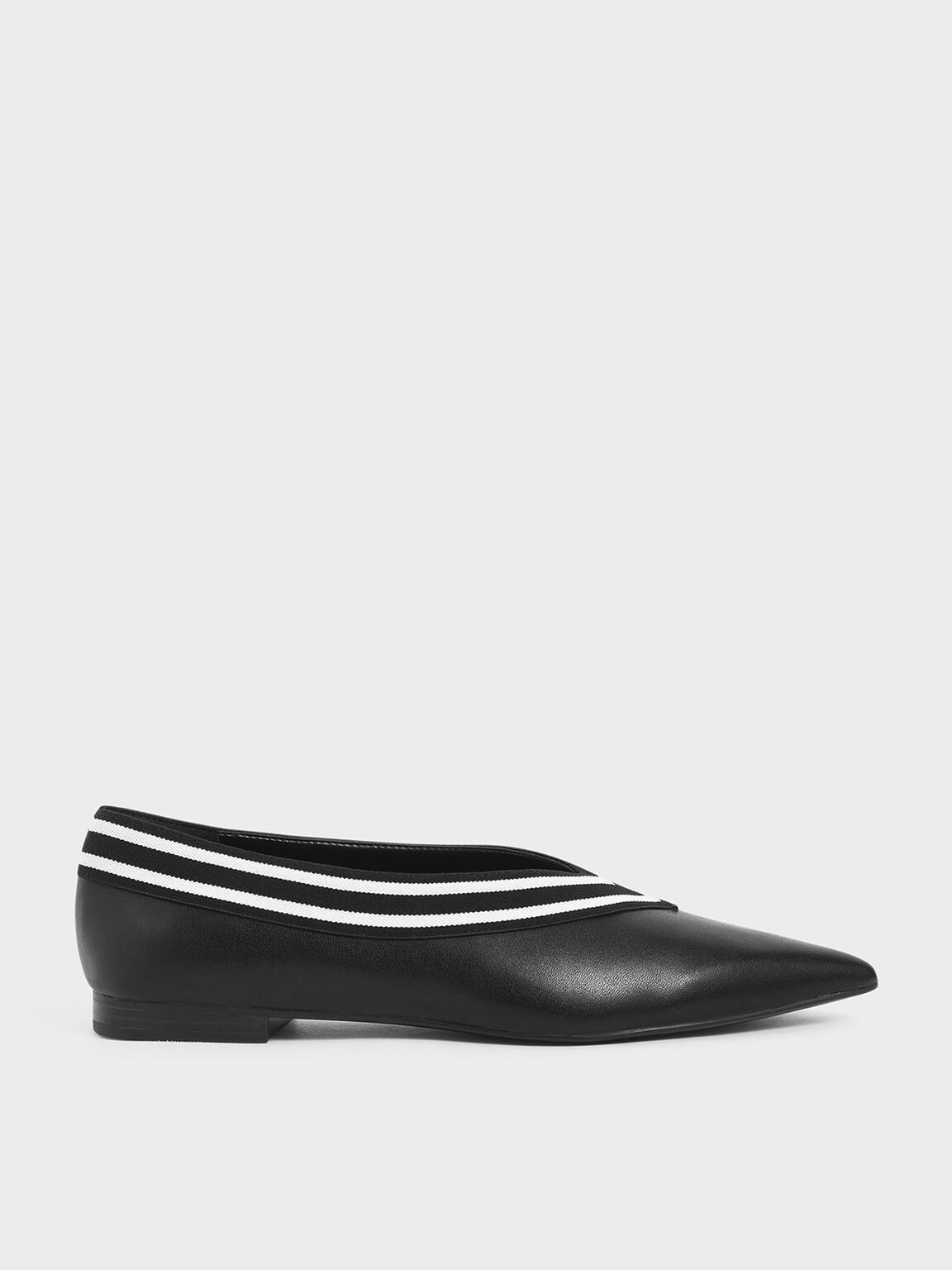Striped Trim Ballerina Flats, Black, hi-res