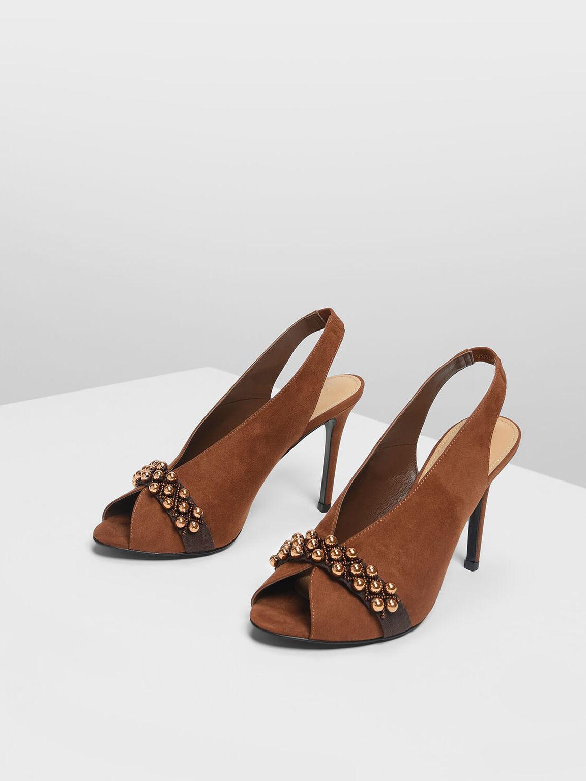 Embellished Peep Toe Slingbacks, Brown, hi-res