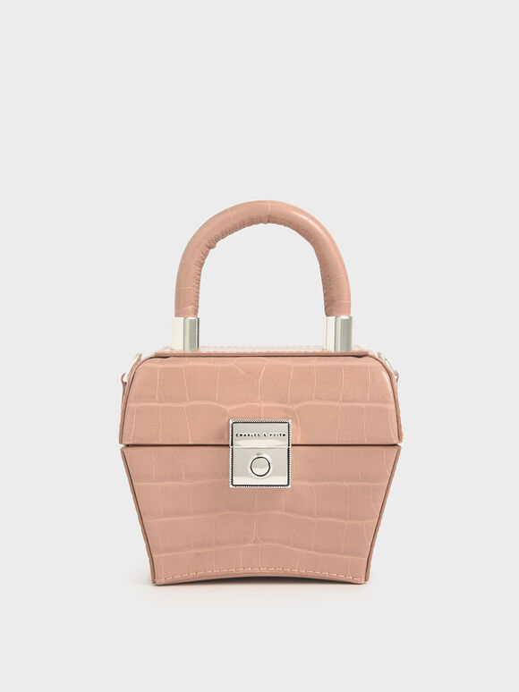 Croc-Effect Mini Sculptural Bag, Blush, hi-res