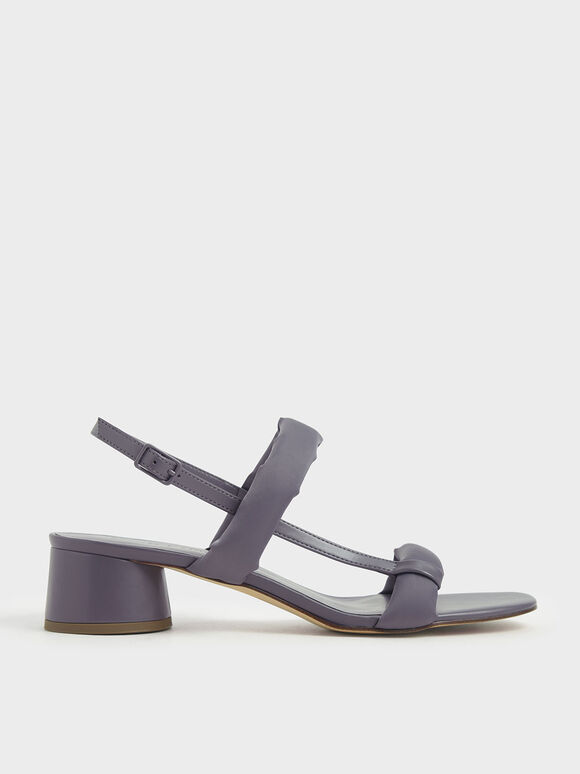 Puffy Strap Sandals, Lilac Grey, hi-res