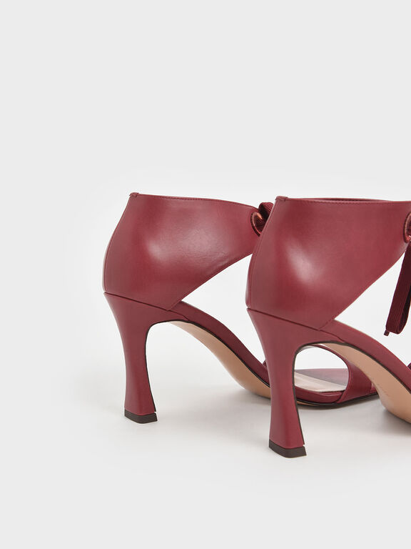 Bow Ankle Strap Sculptural Heel Sandals, Red