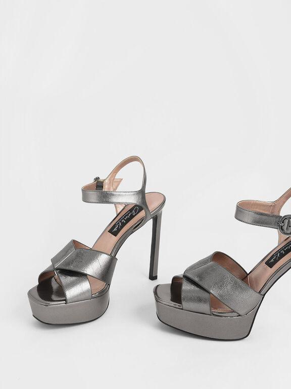 Wrinkled-Effect Leather Platform Stiletto Heels, Pewter