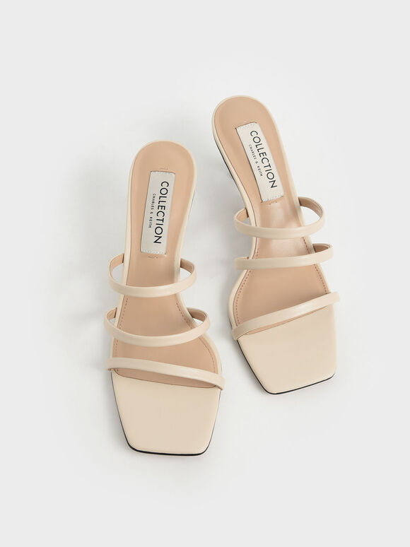 Strappy Heeled Mules, Chalk, hi-res