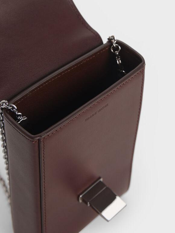 Striped Elongated Leather Crossbody Bag, Prune, hi-res