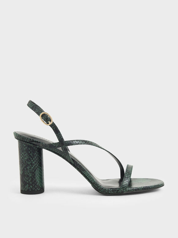 Snake Print Asymmetric Strap Sandals, Dark Green, hi-res