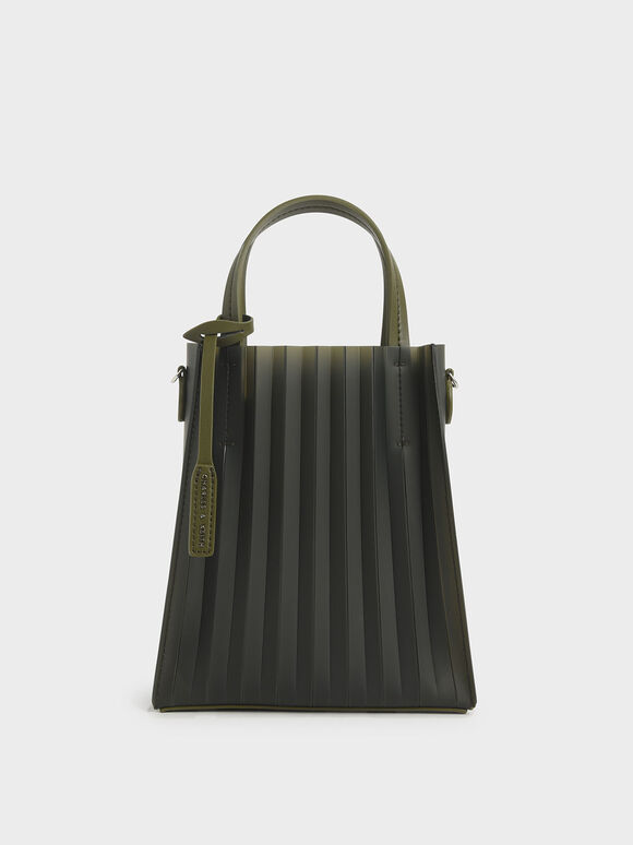 Translucent Pleated Tote Bag, Olive, hi-res