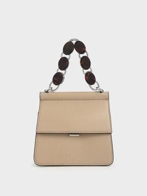 Small Acrylic Tortoiseshell Top Handle Bag, Beige, hi-res