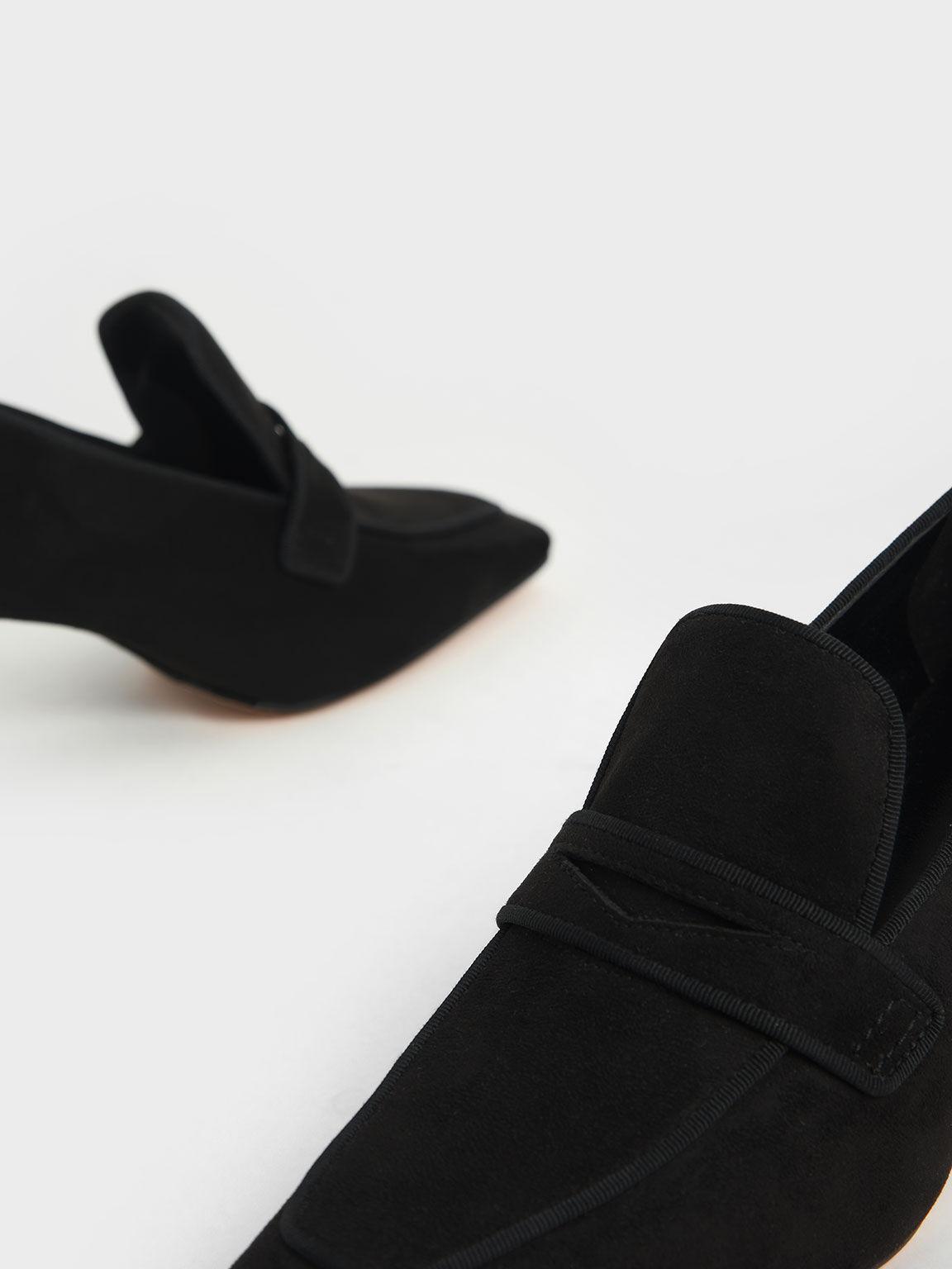 Textured Penny Loafer Pumps, Black, hi-res