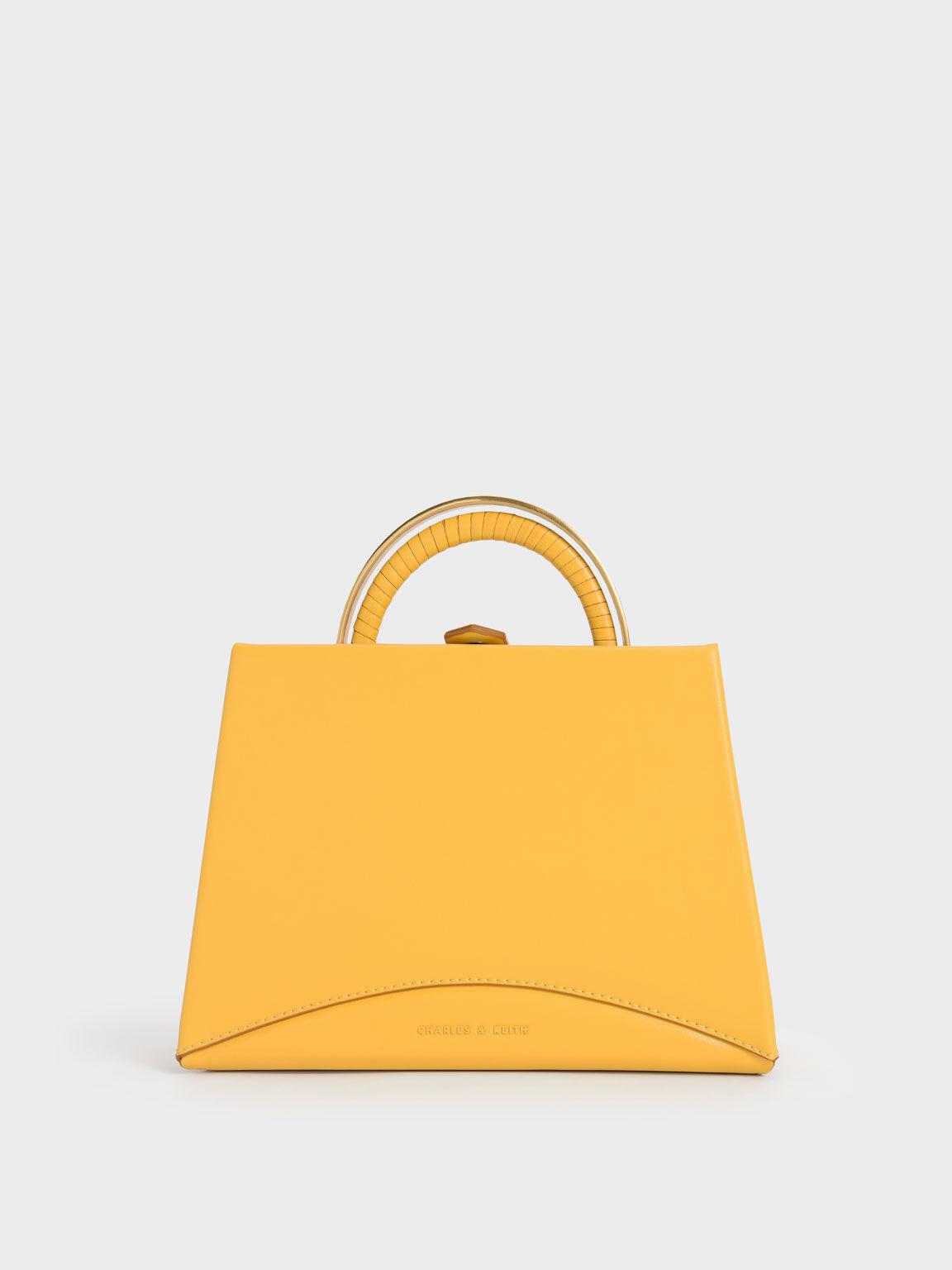 Metallic Top Handle Trapeze Bag, Yellow, hi-res