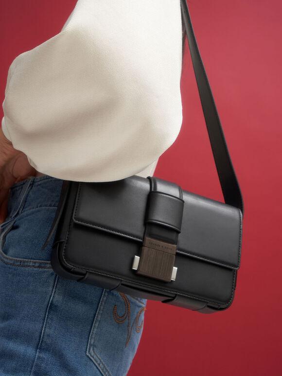Front Flap Push Lock Crossbody Bag, Black, hi-res