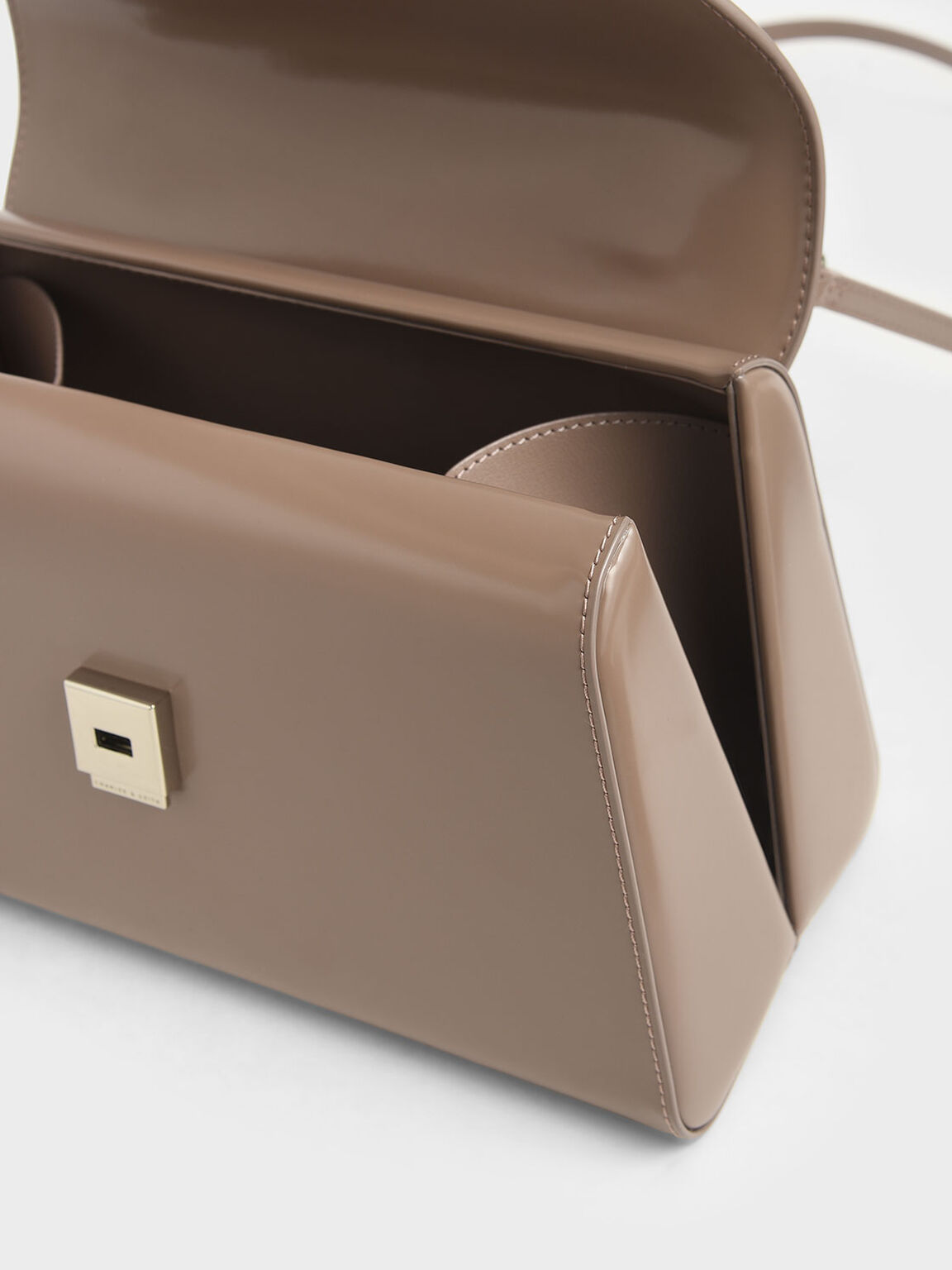 Structured Top Handle Bag, Brown, hi-res