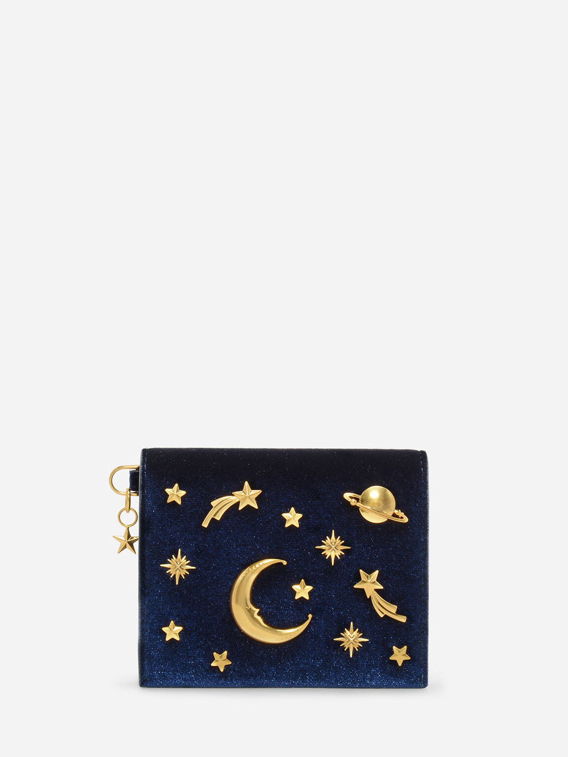 Snap Button Galaxy Embellished Velvet Card Holder, Navy, hi-res