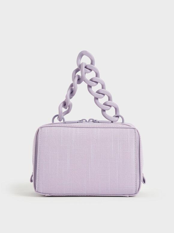 Linen Chain Link Boxy Bag, Lilac, hi-res