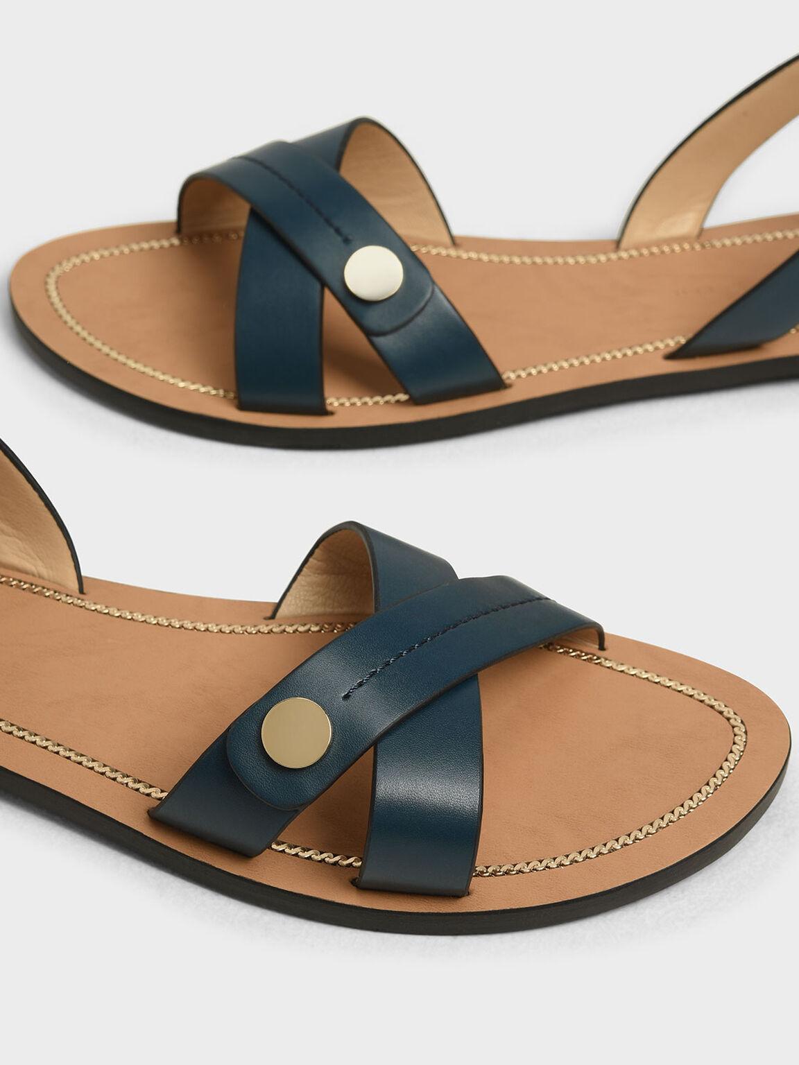 Button Detail Criss Cross Sandals, Teal, hi-res
