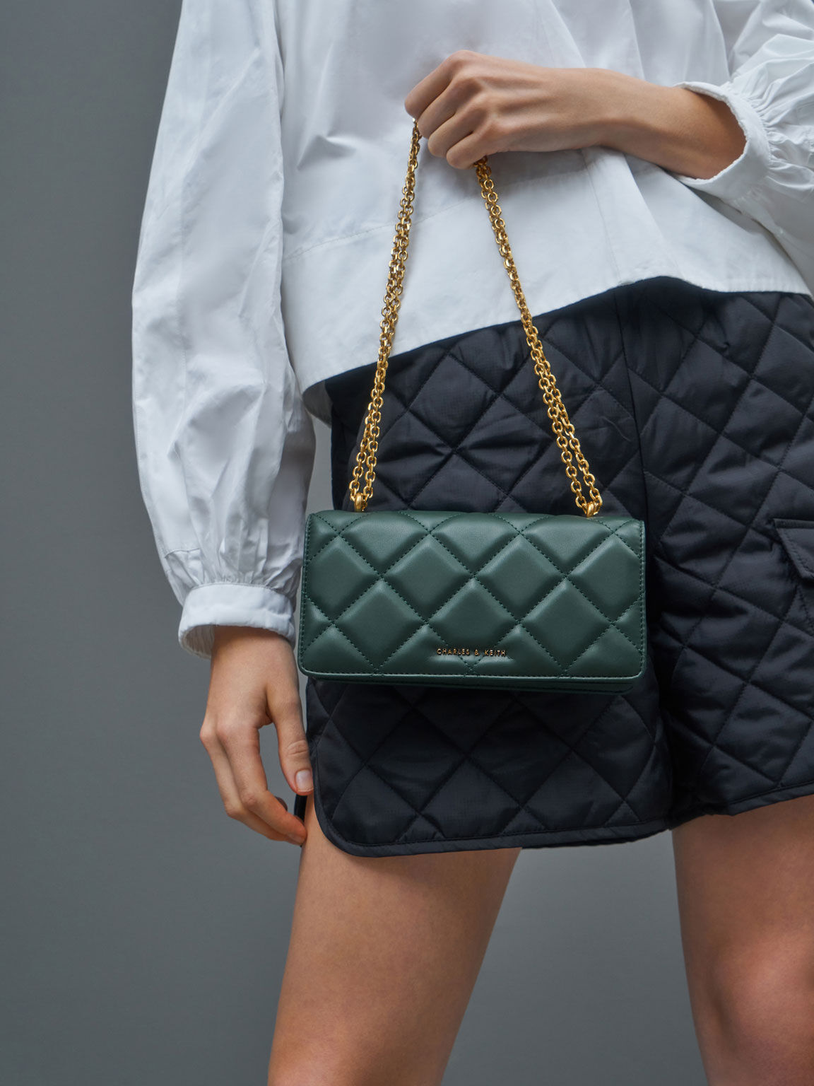 Chain Handle Quilted Long Wallet, Dark Green, hi-res