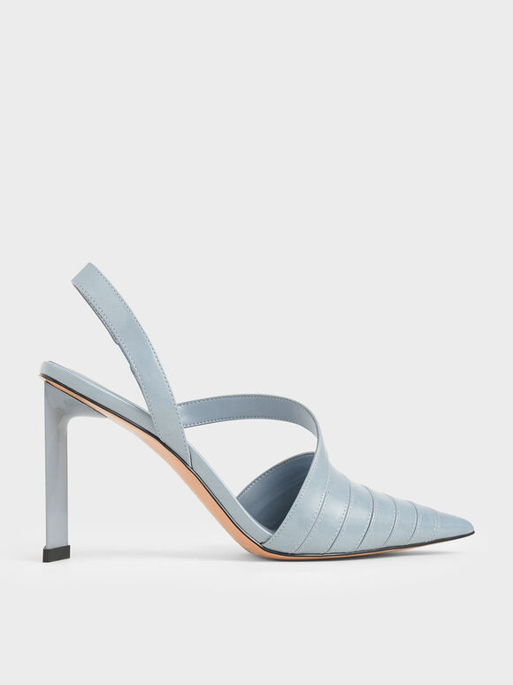 Asymmetric Slingback Pumps, Light Blue, hi-res