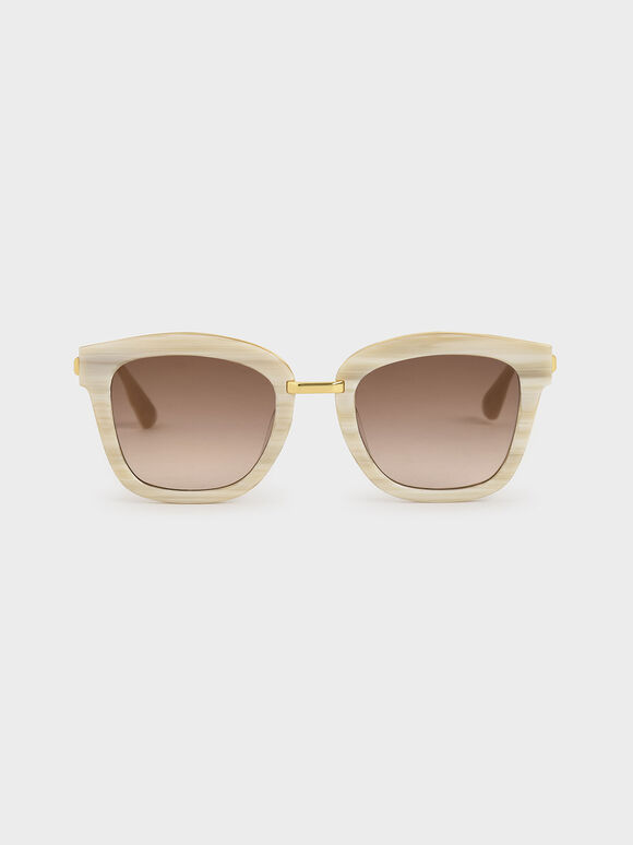 Acetate Wayfarer Sunglasses, Cream, hi-res