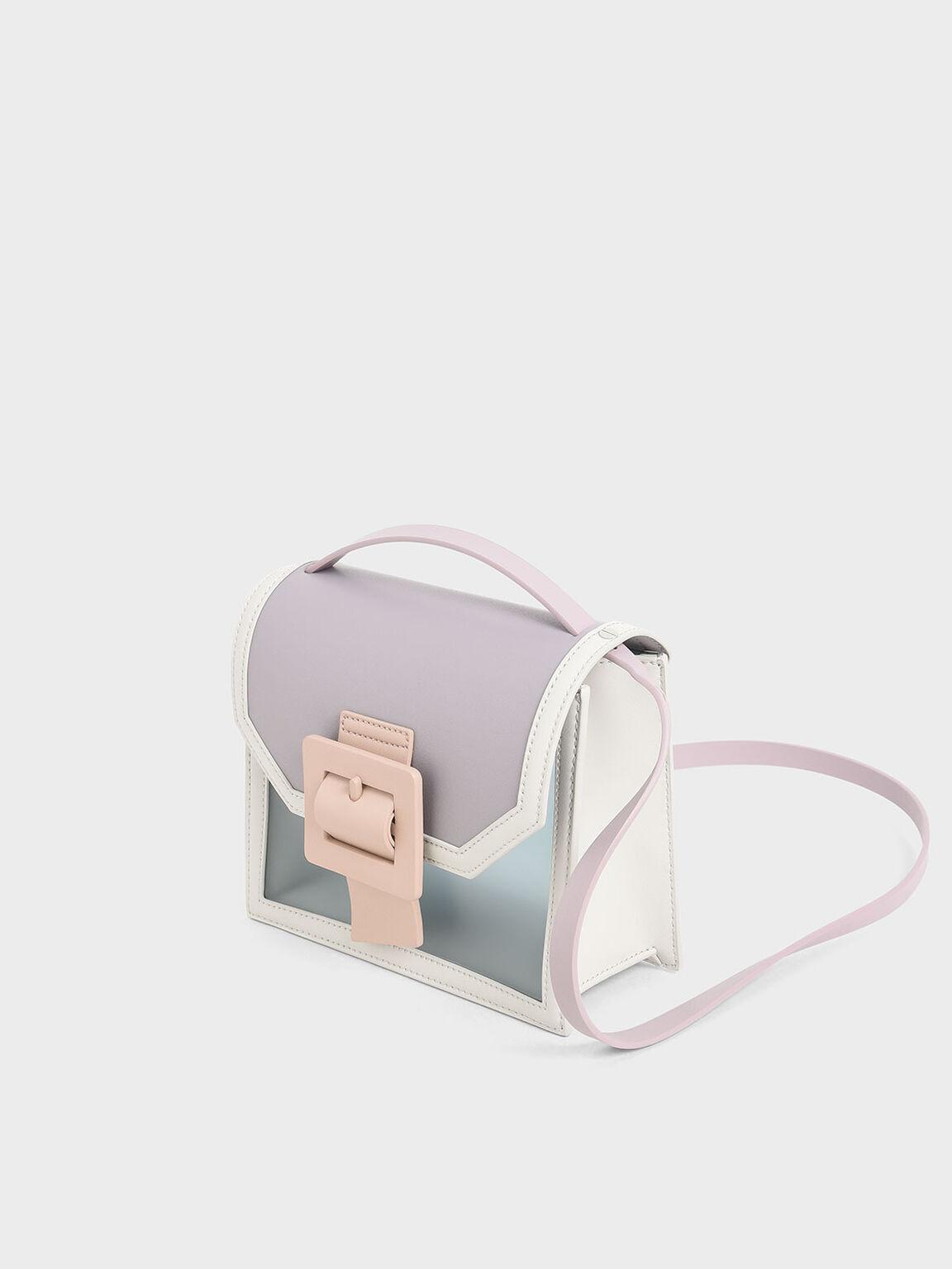See-Through Effect Buckled Bag, Grey, hi-res