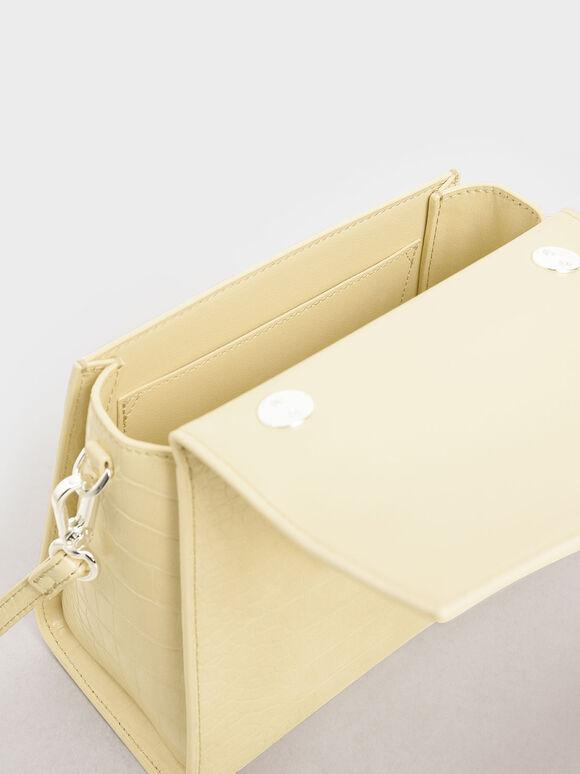 Croc-Effect Structured Sculptural Bag, Yellow, hi-res
