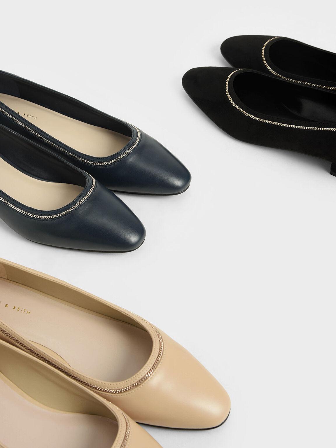 金屬鍊低跟鞋, 米黃色, hi-res
