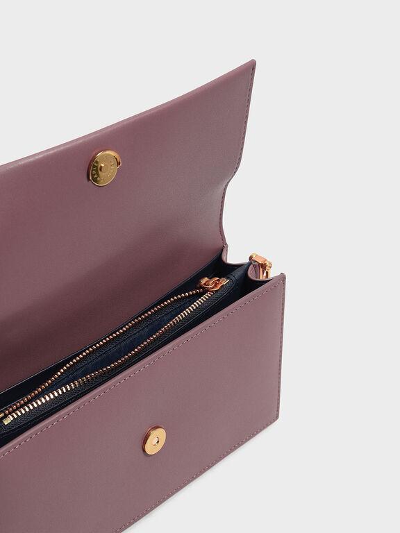 Metallic Handle Long Wallet, Mauve