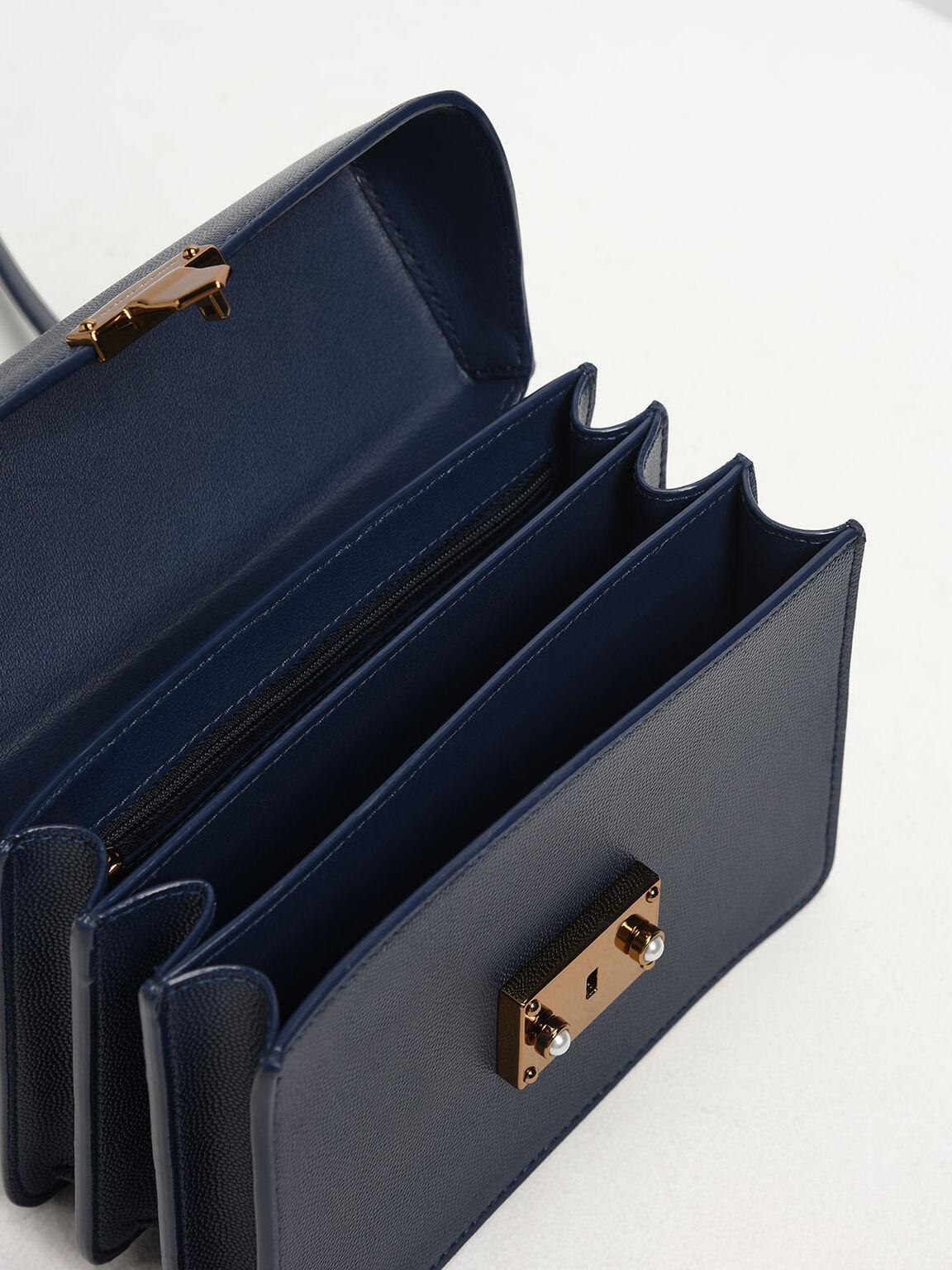 Classic Push Lock Top Handle Bag, Dark Blue, hi-res