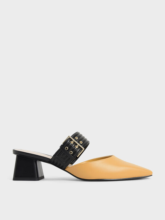 Two-Tone Grommet Strap Mules, Yellow, hi-res