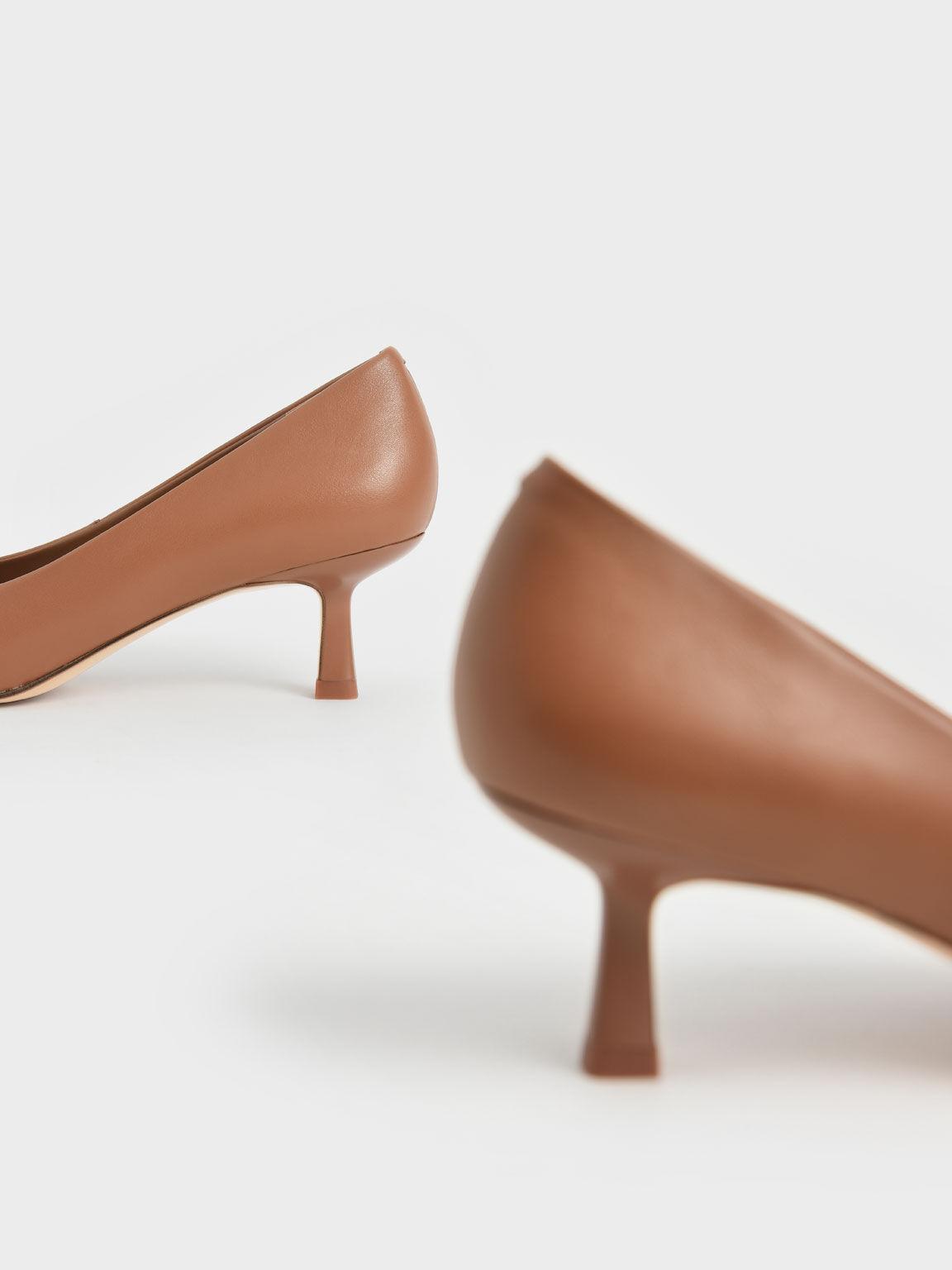 Pointed Kitten Heel Pumps, Brown, hi-res
