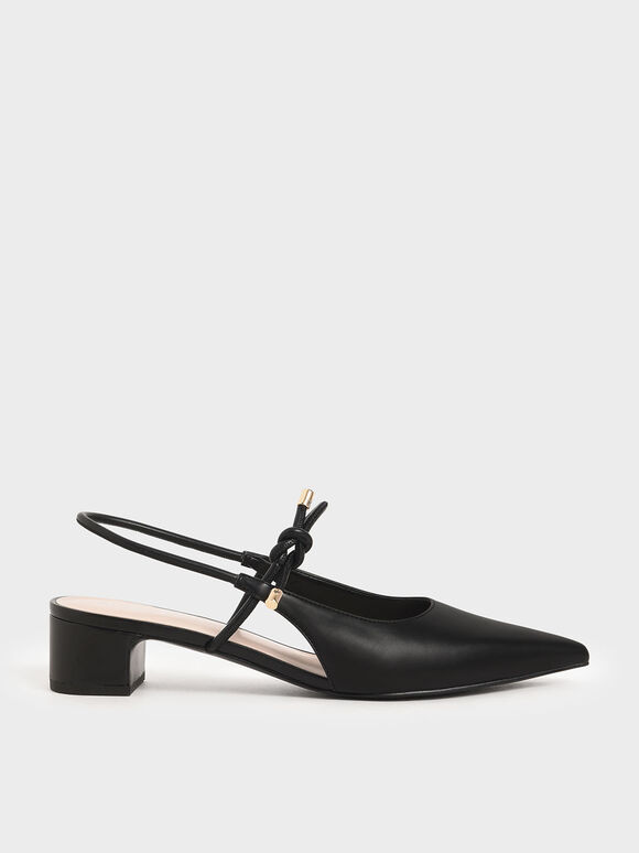 Front Tie Slingback Pumps, Black, hi-res