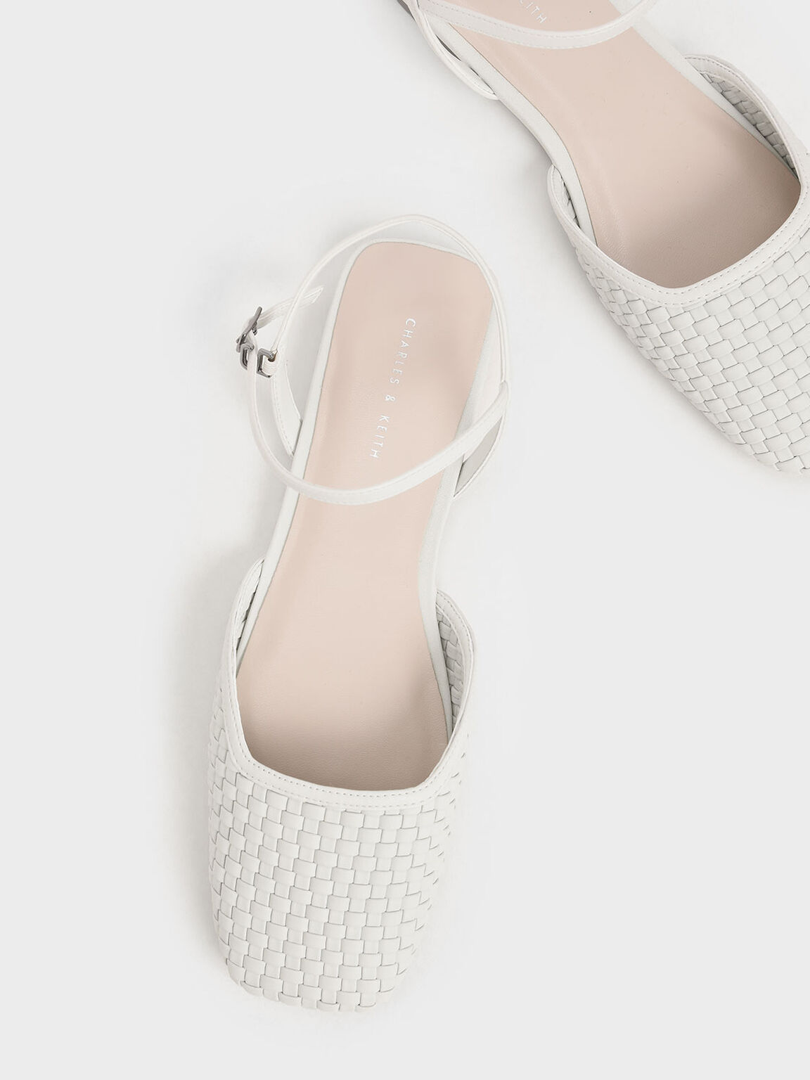 Woven Square Toe Flats, White, hi-res