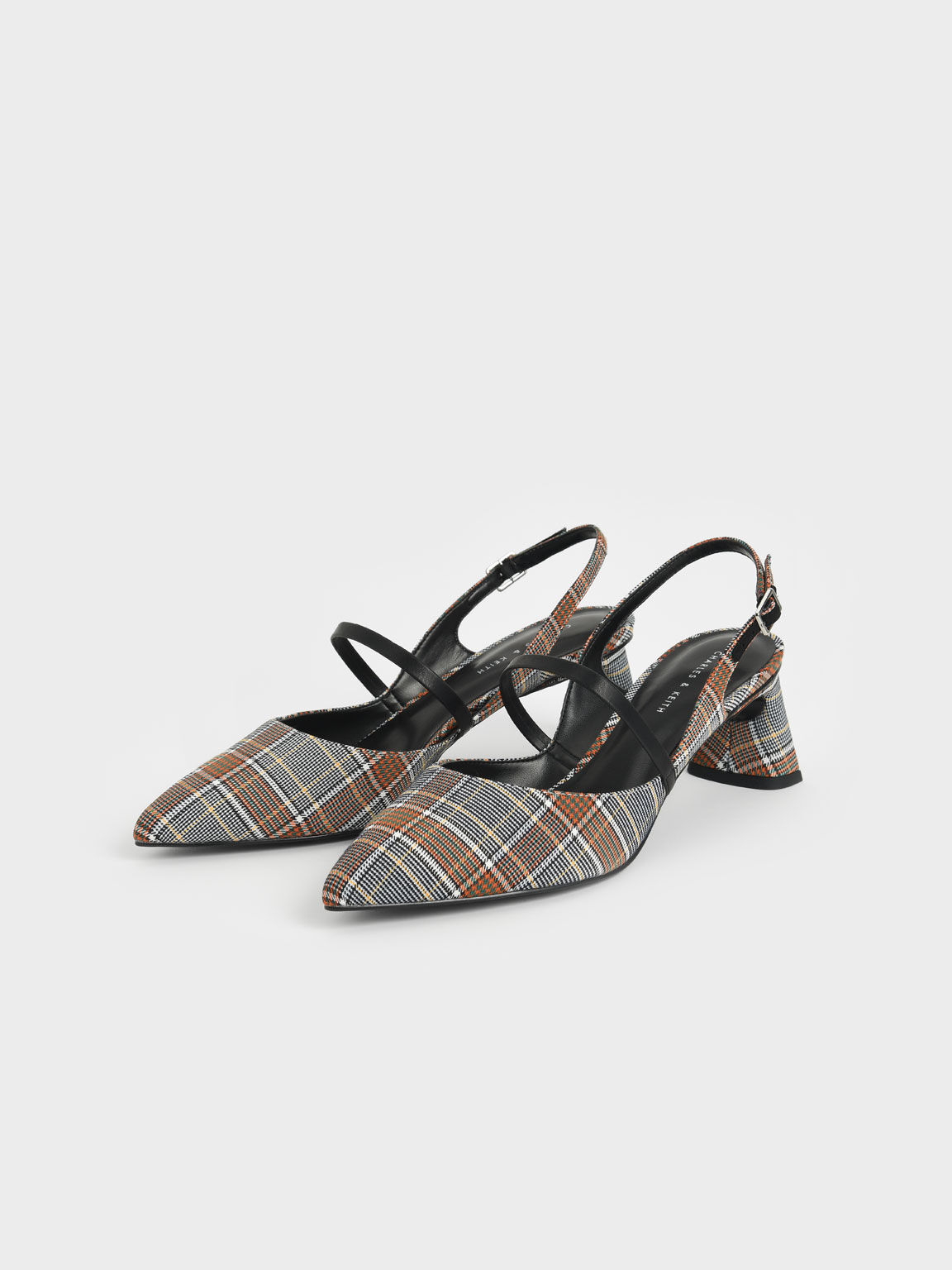 Check Print Sculptural Heel Slingback Mary Janes, Grey, hi-res