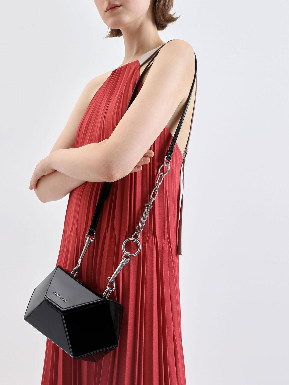 Demi Chain Handle Patent Hexagon Bag, Black, hi-res
