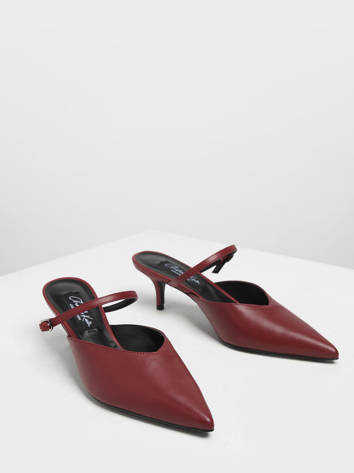 Leather Mary Jane Kitten Heel Mules, Red, hi-res