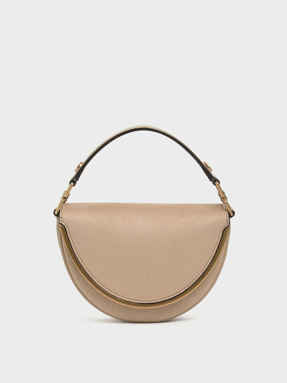 Textured Top Handle Semi-Circle Bag, Beige, hi-res