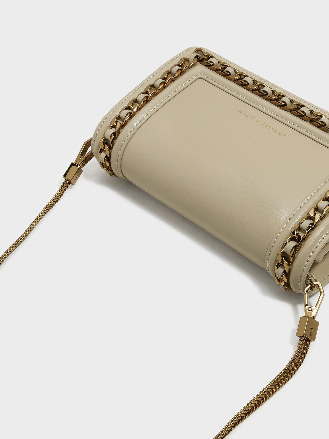 Chain Detail Clutch, Ivory, hi-res