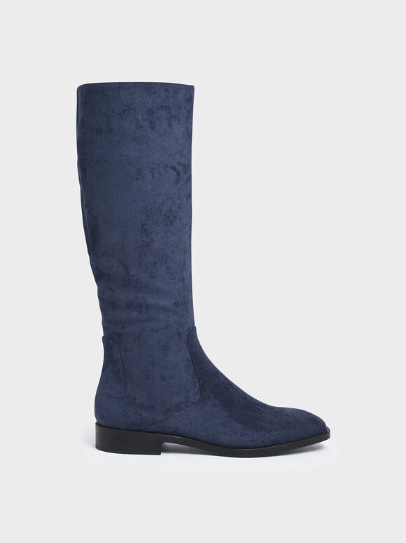 Textured Zip-Up Knee High Flat Boots, Blue, hi-res