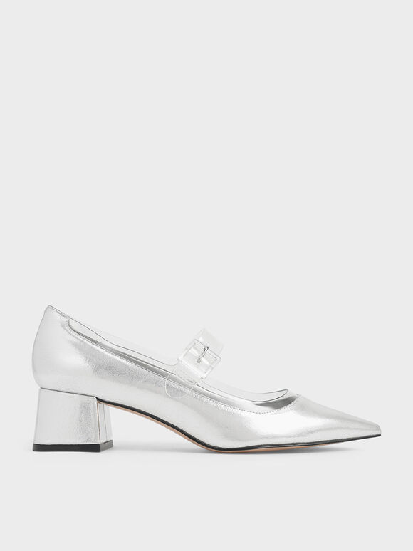 Clear Mary Jane Strap Metallic Pumps, Silver, hi-res