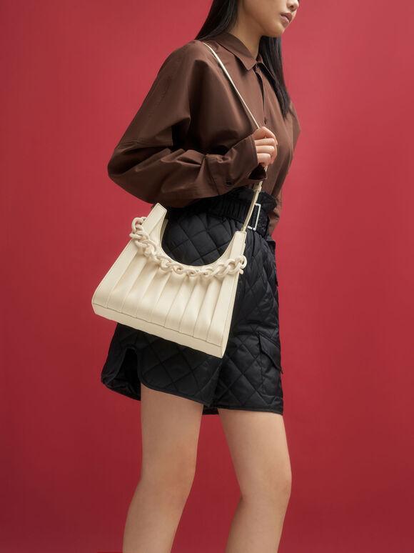 Chain Handle Pleated Shoulder Bag, Beige, hi-res