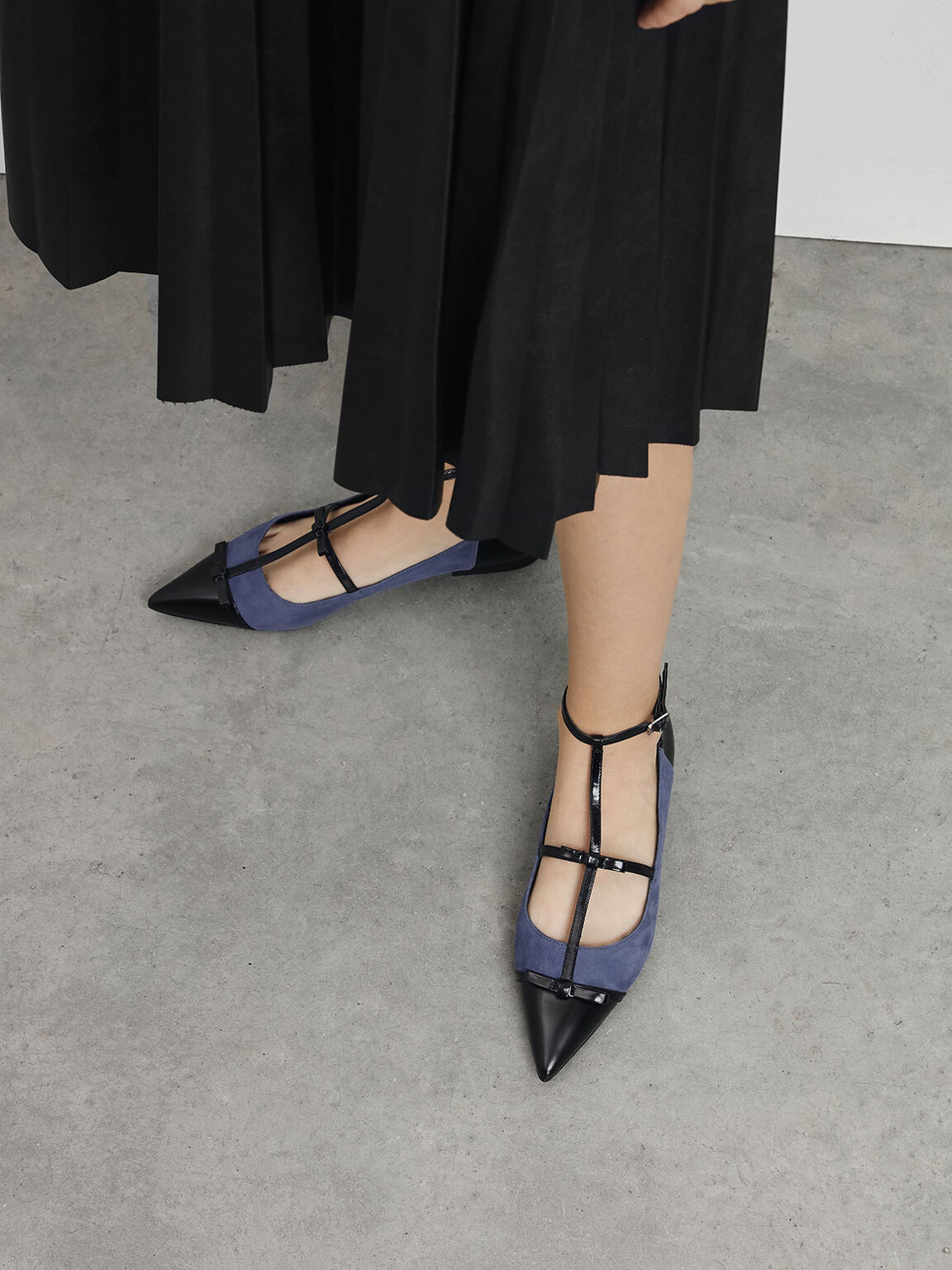Kid Suede Ribbon Detail Ballerina Flats, Blue, hi-res