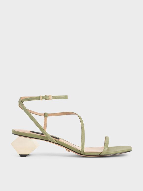 Leather Sculptural Heel Sandals, Sage Green, hi-res