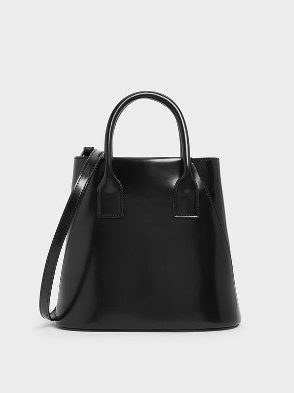 Leather Boxy Bucket Bag, Black, hi-res