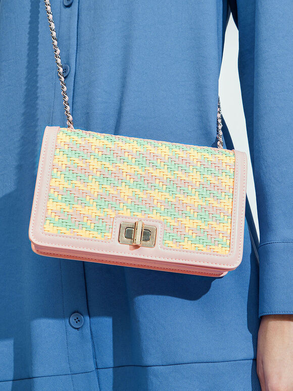 金屬鍊編織手拿包, 粉紅色, hi-res
