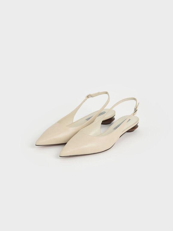 後踝帶尖頭低跟鞋, 石灰白, hi-res