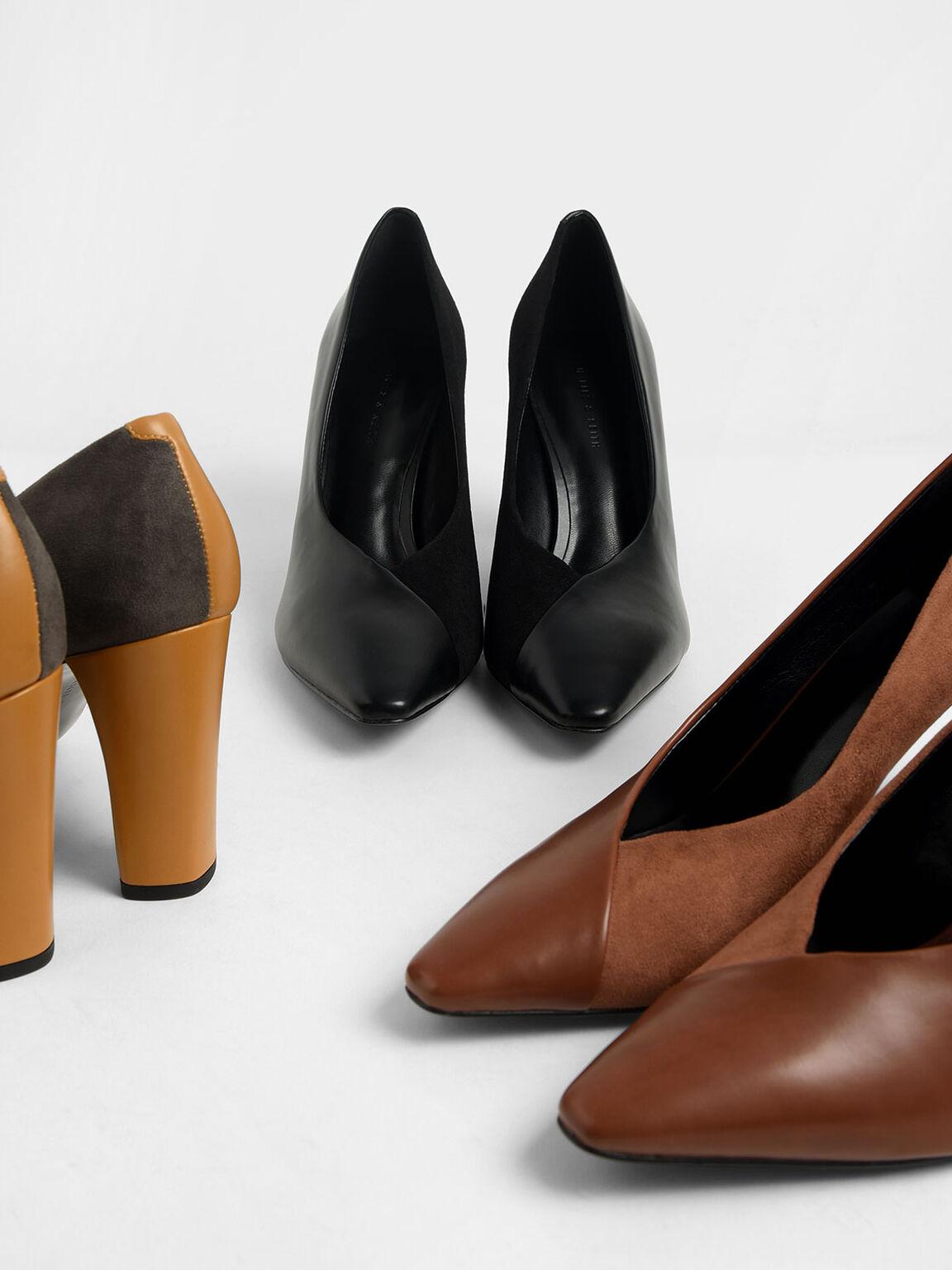 材質拼接高跟鞋, 黑色, hi-res