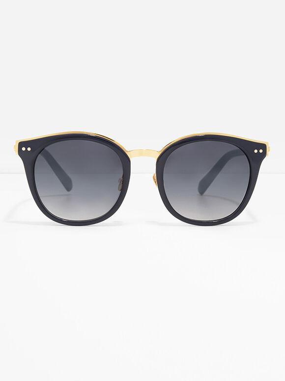 Round Wayfarer Sunglasses, Navy, hi-res