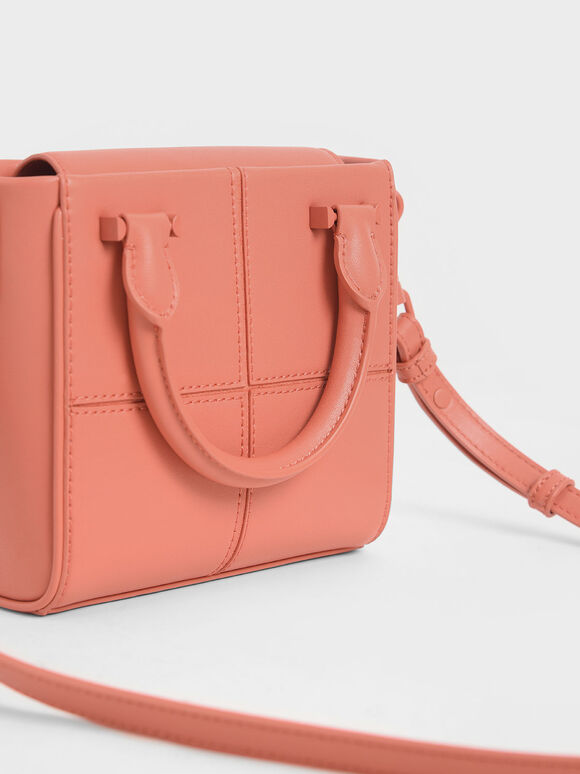 Textured Panelled Top Handle Bag, Coral, hi-res