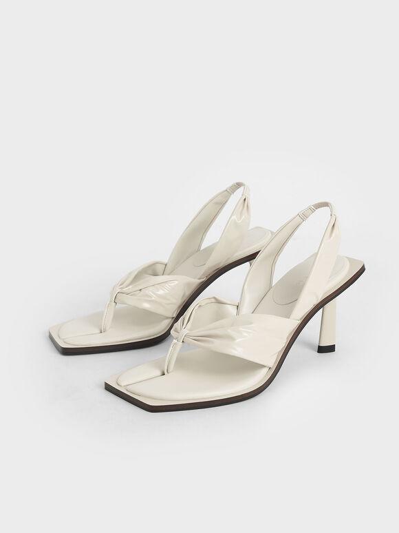 特別限定款:抓皺漆面夾腳涼鞋, 奶油色, hi-res