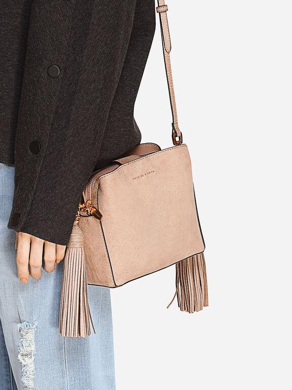 Tassel-Detail Sling Bag, Nude