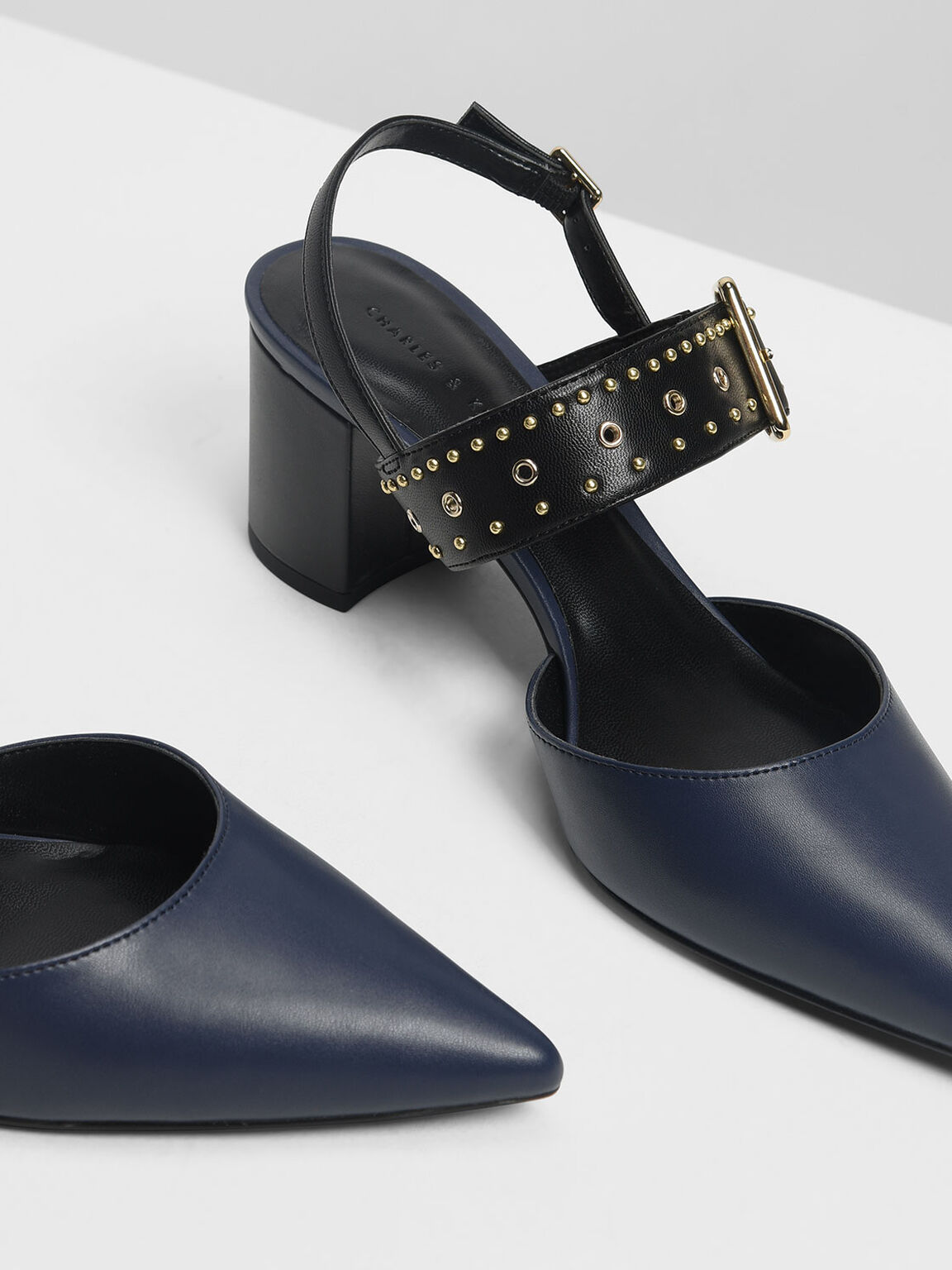 Studded Pointed Slingbacks, Navy, hi-res