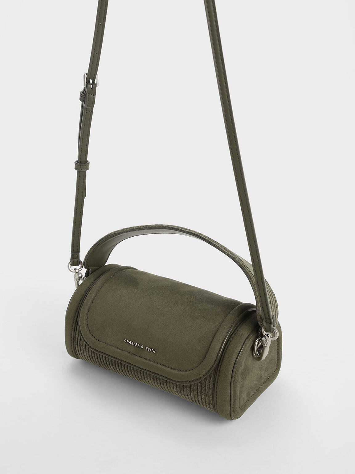 燈芯絨迷你手提包, 橄欖色, hi-res